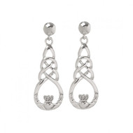Claddagh with Celtic Knot Drop Earrings