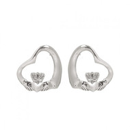Claddagh Floating Heart Stud Earrings