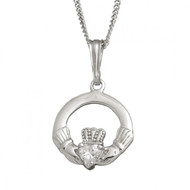 Claddagh Pendant with CZ Stone