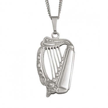 Medium Celtic Harp Pendant And Chain