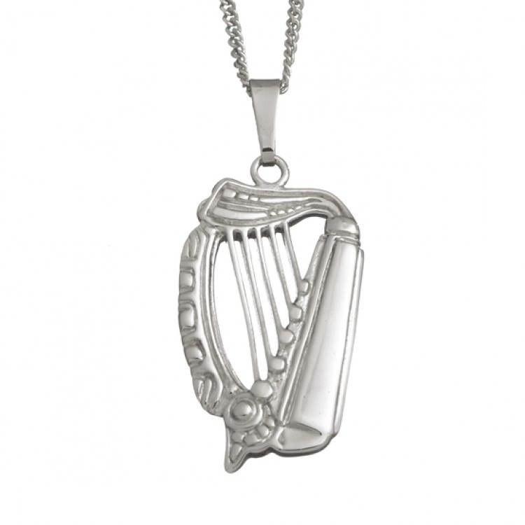 Medium celtic harp pendant and chain audiocablefo