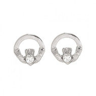 Claddagh Earrings with Small CZ Stone