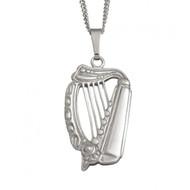 Medium Celtic Harp Pendant And Chain