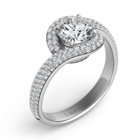 Curved Halo Diamond Engagement Ring EN7572