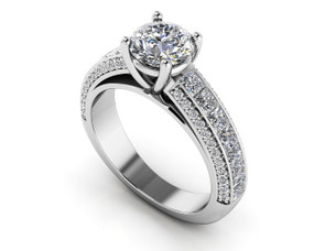 Brilliant Round and Princess Cut Engagement Ring Style BDMS208-A