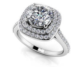 Round Halo Diamond Engagement Ring BDMS195-A