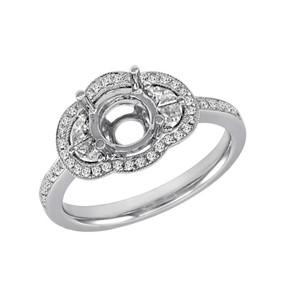 OVAL HALO DIAMOND ENGAGEMENT RING EN7090 (Center stone included)