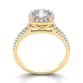 SPLIT SHANK SQUARE HALO DIAMOND ENGAGEMENT RING EN7369