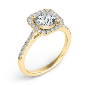 SQUARE HALO ROUND DIAMOND ENGAGEMENT RING EN7400