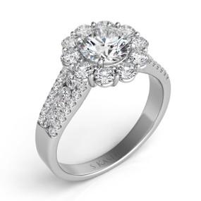 UNIQUE ROUND HALO DIAMOND ENGAGEMENT RING EN7413