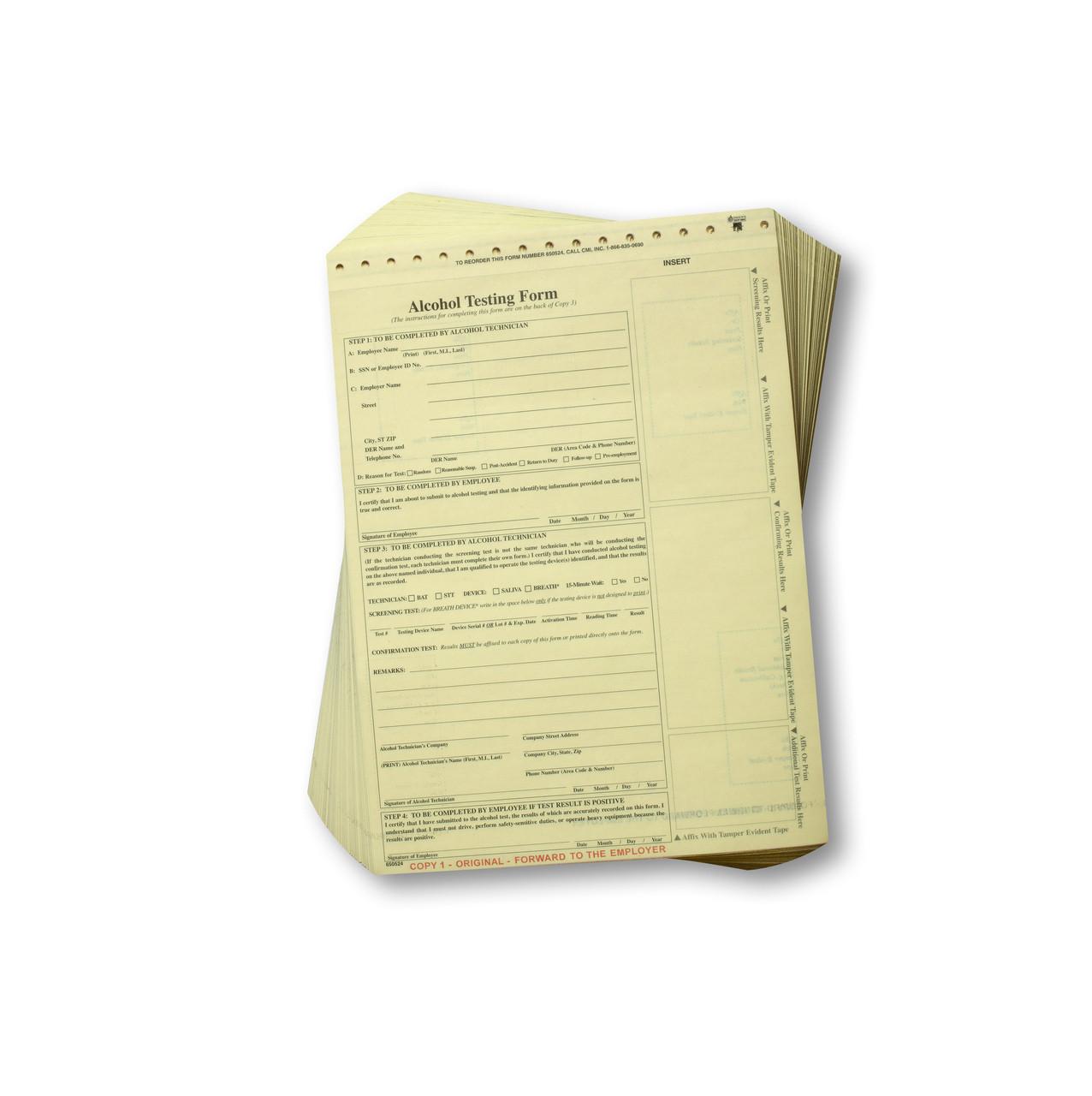 Non Dot Breath Alcohol Testing Forms Standard Cmi Inc