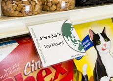 """Clear sign sleeve displays 4""""w x 3.5""""h  graphic on  retail shelf channels that are  1- 1/4"""" height.  Perfect for displaying product descriptions and pricing!"""