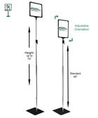 """Pedestal Sign Holder -  11""""w x 8.5""""h - Adjustable Height 48""""-72"""""""