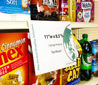 "Shelf edge sign sleeve displays 11""w x 8.5""h signs  by clipping into standard 1-1/4"" shelf channels. Perfect for advertising on grocery store endcaps and aisles. Flexible plastic ""shops"" out of the way."