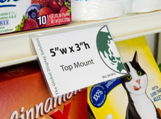 "Clear retail sign sleeve clips into standard 1.25 inch channels and displays 5""w x 3""h signs on retail shelves."