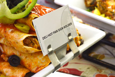 Stainless steel sign holder for displaying labels on the edge of deli/bakery bowls and trays