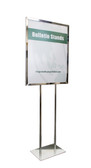 Poster stand for displaying bulletins and signs in lobbies, retail stores and facilities.
