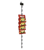 Metal merchandising cane with 12 stations and UPC label holder  for cross-selling and up-selling in retail stores.  Metal can hangs from standard store fixtures and displays with hook located at the top.