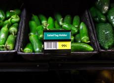 Salad tag holder - display signs on produce bins.