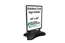 Display (2) 30 x 40 signs outside with this durable outside sign holder with weighted base.