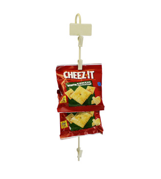 Metal merchandising clip strip with 6 stations for hanging products to increase cross-selling and up-selling.