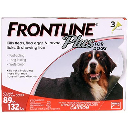 Frontline Plus for Extra Large Dogs 89-132lbs - 3 Pack