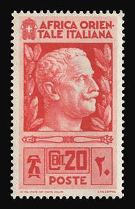 ITALIAN EAST AFRICA Scott #  6, 1938 20c crimson Victor Emmanuel III