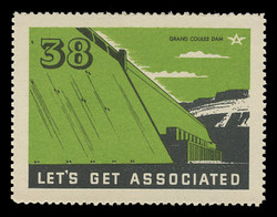Associated Oil Company Poster Stamps of 1938-9 - # 38 Grand Coulee Dam