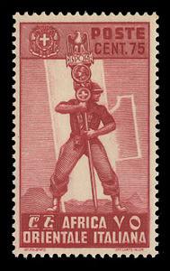 ITALIAN EAST AFRICA Scott # 11, 1938 75c carmine lake Fascist Legionary