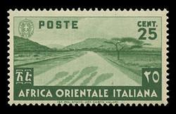 ITALIAN EAST AFRICA Scott #  7, 1938 25c green Desert Road