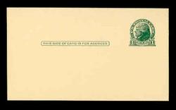 U.S. Scott # UX  27, 1914 1c Thomas Jefferson, green on buff - Mint Postal Card