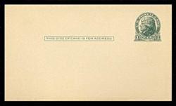 U.S. Scott # UX  27a, 1914 1c Thomas Jefferson, green on cream - Mint Postal Card (See Warranty)
