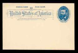 U.S. Scott # UX  11, 1891 1c Ulysses S. Grant, blue on grayish white - Mint Postal Card