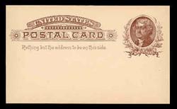U.S. Scott # UX   8, 1885 1c Thomas Jefferson, brown on buff - Mint Postal Card