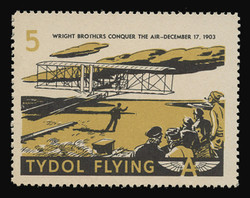 """Tydol Flying """"A"""" Poster Stamps of 1940 - # 5, Wright Brothers Conquer the Air - 1903"""