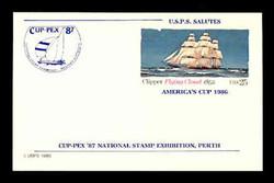 U.S. Scott # UX 107CUPT, 1985 25c Clipper Flying Cloud, CUP-PEX Overprint, Thin Line - Mint Show Logo Postal Card