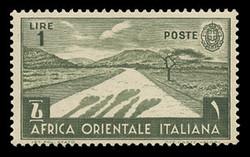 ITALIAN EAST AFRICA Scott # 12, 1938 1.00 lire olive green Desert Road