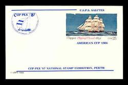 U.S. Scott # UX 107CUPF, 1985 25c Clipper Flying Cloud, CUP-PEX Overprint, Thick Line - Mint Show Logo Postal Card