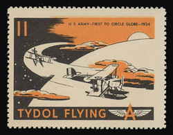 """Tydol Flying """"A"""" Poster Stamps of 1940 - #11, U.S. Army - First to Circle the Globe, 1924"""