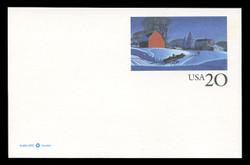 U.S. Scott # UX 241, 1996 20c Winter Scene - Mint Postal Card, DULL PAPER