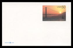 U.S. Scott # UX 283, 1997 20c Golden Gate Bridge at Sunset - Mint Postal Card, DULL PAPER