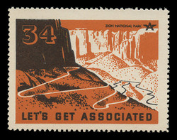 Associated Oil Company Poster Stamps of 1938-9 - # 34 Zion National Park