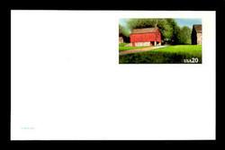 U.S. Scott # UX 198, 1995 20c Red Barn - Mint Postal Card, DULL PAPER