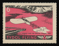 """Tydol Flying """"A"""" Poster Stamps of 1940 - # 6, Bleriot Flies the English Channel - 1909"""