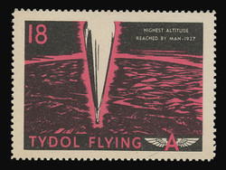 """Tydol Flying """"A"""" Poster Stamps of 1940 - #18, Highest Altitude Reached by Man - 1937"""