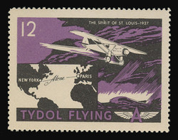 """Tydol Flying """"A"""" Poster Stamps of 1940 - #12, The Spirit of St. Louis - 1927"""