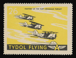 """Tydol Flying """"A"""" Poster Stamps of 1940 - #26, Fighters of the Fleet - Grumman Pursuit"""