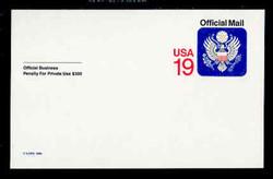 U.S. Scott # UZ 05, 1991 19c Official Mail, white on blue, value in red - Mint Postal Card