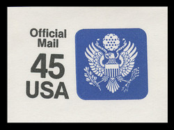 U.S. Scott # UO 079 1990 45c Official Mail, small lettering illegible - Mint Cut Square