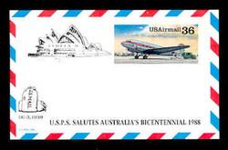 U.S. Scott # UXC 24SYD, 1988 36c DC-3, SYDPEX '88 Overprint - Mint Show Logo Postal Card